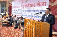 CMD, NHFDC addressing the gathering during Job Fair for Persons with Disabilities organised by NHFDC on 14.11.2013 at War Heroes Memorial Stadium, Ambala Cantt.