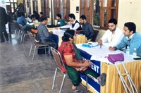 Persons with Disabilities being interviewed by Corporates on 14.11.2013 during Job Fair for Persons with Disabilities organized by NHFDC at War Heroes Memorial Stadium, Ambala Cantt.