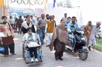 Persons with Disabilities (PwDs) arriving at Job Fair venue (War Heroes Memorial Stadium, Ambala Cantt) for registration on 14.11.2013.