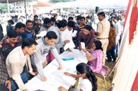 Registration of Persons with Disabilities (PwDs) in Job Fair at War Heroes Memorial Stadium for interview with Corporates/ Training Providers. 14.11.2013, Ambala