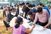 Registration of candidates in progress for interview with Corporates during Job Fair for Persons with Disabilities organized by NHFDC at War Heroes Memorial Stadium, Ambala Cantt on 14.11.2013.
